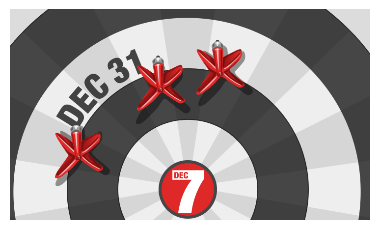 A graphic of a dart board with Dec. 7 in the center.