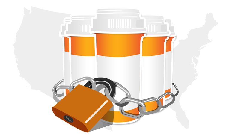 A graphic showing three pill bottles with a lock and chain around them