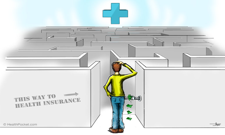 A graphic of a confused man standing in front of a maze that says 'This way to health insurance'