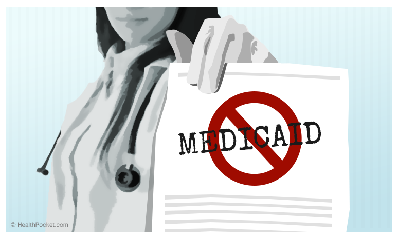 A graphic pf a doctor holding a piece of paper that indicates that they don't take medicaid