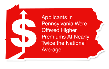 Applicants in Pennsylvania were offered higher premiums at nearly twice the national average