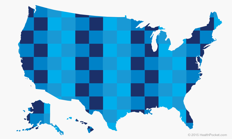 A graphic of a U.S. map checkered blue