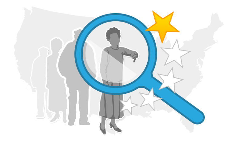 A graphic showing an insurance customer and stars