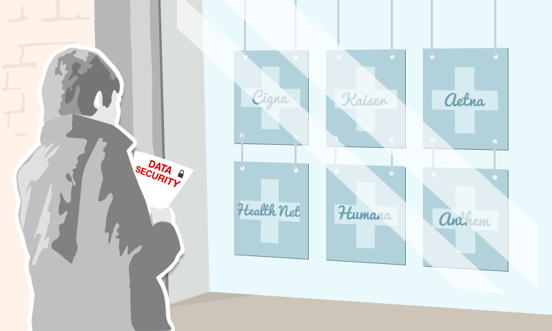 A graphic of a man holding a sheet of paper that says 'Data Security' while window shopping for health plans