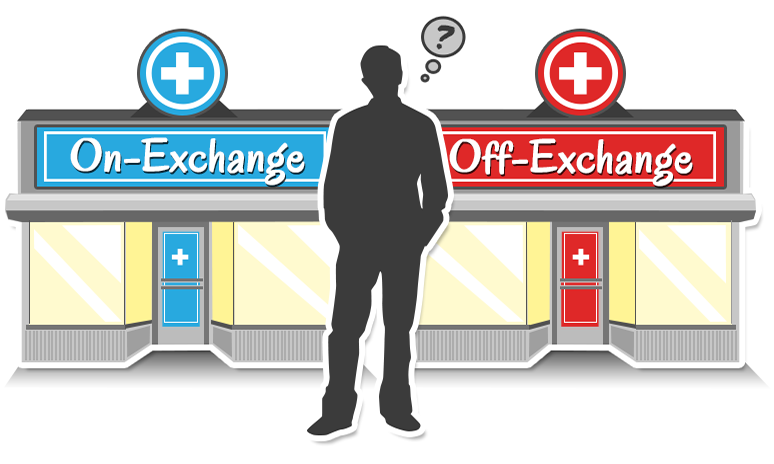 A graphic of a man standing in front of two storefronts. One is labeled 'On Exchange', and the other is labeled 'Off exchange'