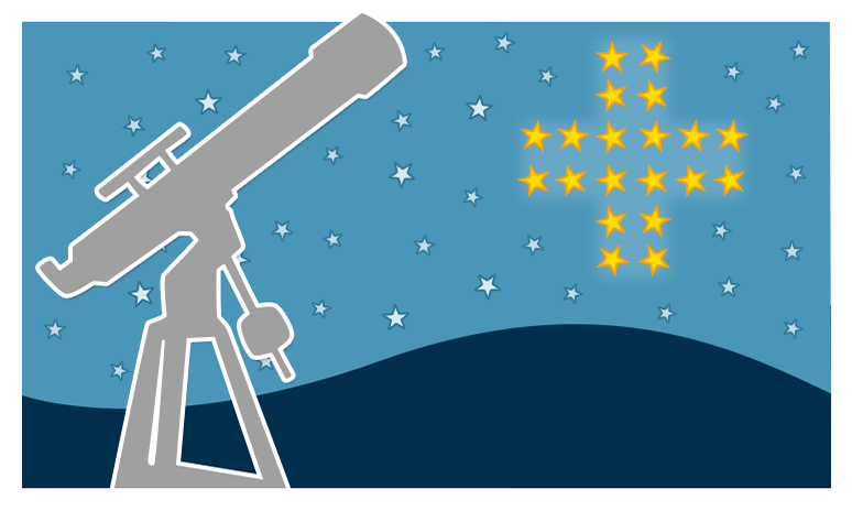 A graphic showing a telescope pointed at the sky