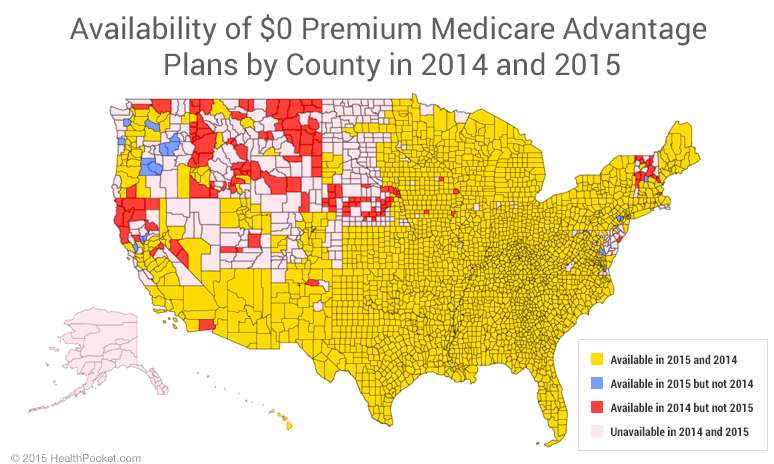 Availability of $0 premium Medicare Advantage plans by county in 2014 and 2015