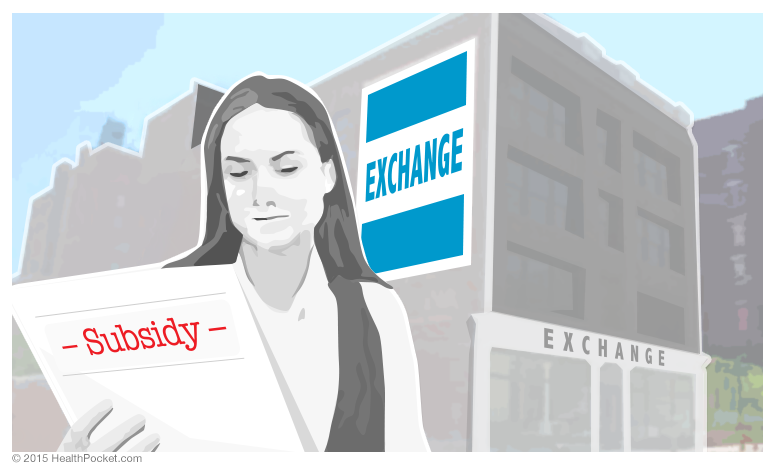 Main image of woman holding a paper labeled 'Subsidy' while looking off at a building labeled 'exchange.'