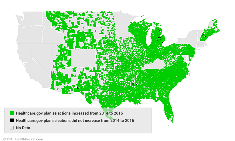 healthcare.gov plan selections were up this year in nearly every zip code in the 2014 and 2015 datasets - HealthPocket